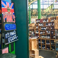 Wine and other drinks can be bought at the Borough Market