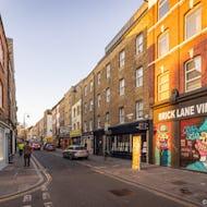 Shops and graffiti on Brick Lane