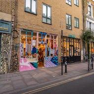 Graffiti decorated shop front