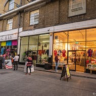 Clothing shops in Old Truman Brewery buildings