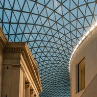 A view from inside the Great Court and the ceiling at the British Museum