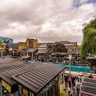 Overview of the food stalls at the Camden Lock Market