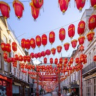Lanterns hanging above the streets of Chinatown