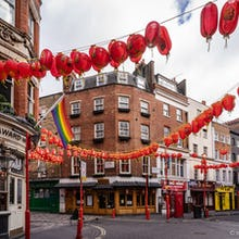 Chinatown buildings and lanterns