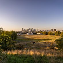 View towards Canary Wharf before sunset