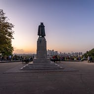 James Wolfe monument and the view over the city during sunset