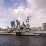 HMS Belfast with City of London skyscrapers in the background