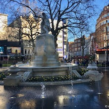 Fountain around the statue of William Shakespeare at Leicester Square