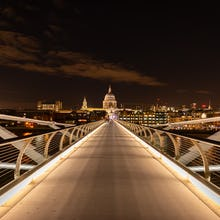 St Paul's Cathedral on one end of the Millennium Bridge