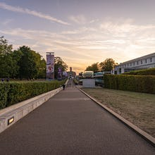 Greenwich Park side of National Maritime Museum during sunset