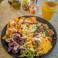 Redemption bar vegetable bowl and turmeric latte