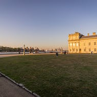 The O2 and Canary Wharf from the courtyard of Old Royal Naval College
