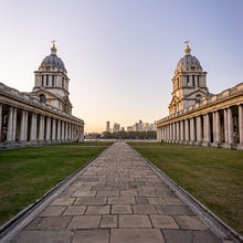 Old Royal Naval College with Canary Wharf in the background