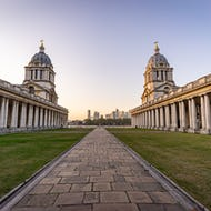 Closer view of Old Royal Naval College with Canary Wharf in the background
