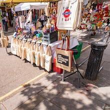 Souvenirs and tote bags on Portobello Road