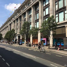 Outside view of Selfridges on Oxford Street