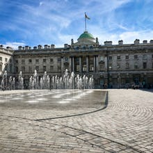 Side view of a fountain in the courtyard of Somerset House