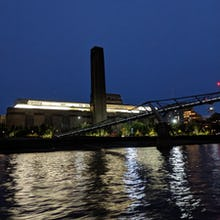 Tate Modern at night from a river cruise