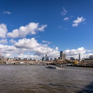 Thames view from the bridge towards City of London
