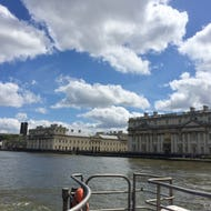 A view of Old Royal Naval College from Thames Clipper