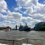 A view of HMS Belfast from Thames Clipper