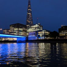 The Shard at night from a river cruise