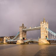 Tower Bridge and stormy clouds