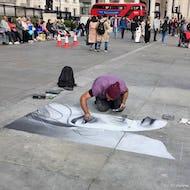 Street artist drawing on Trafalgar Square