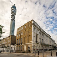 BT Tower looms over Fitzroy Square