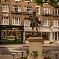 Mozart statue on the Orange Square in one end of Ebury Street